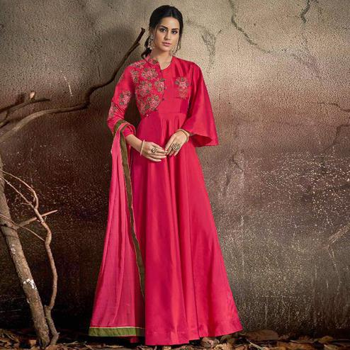 Engrossing Pink Colored Partywear Embroidered Tapeta Silk Gown