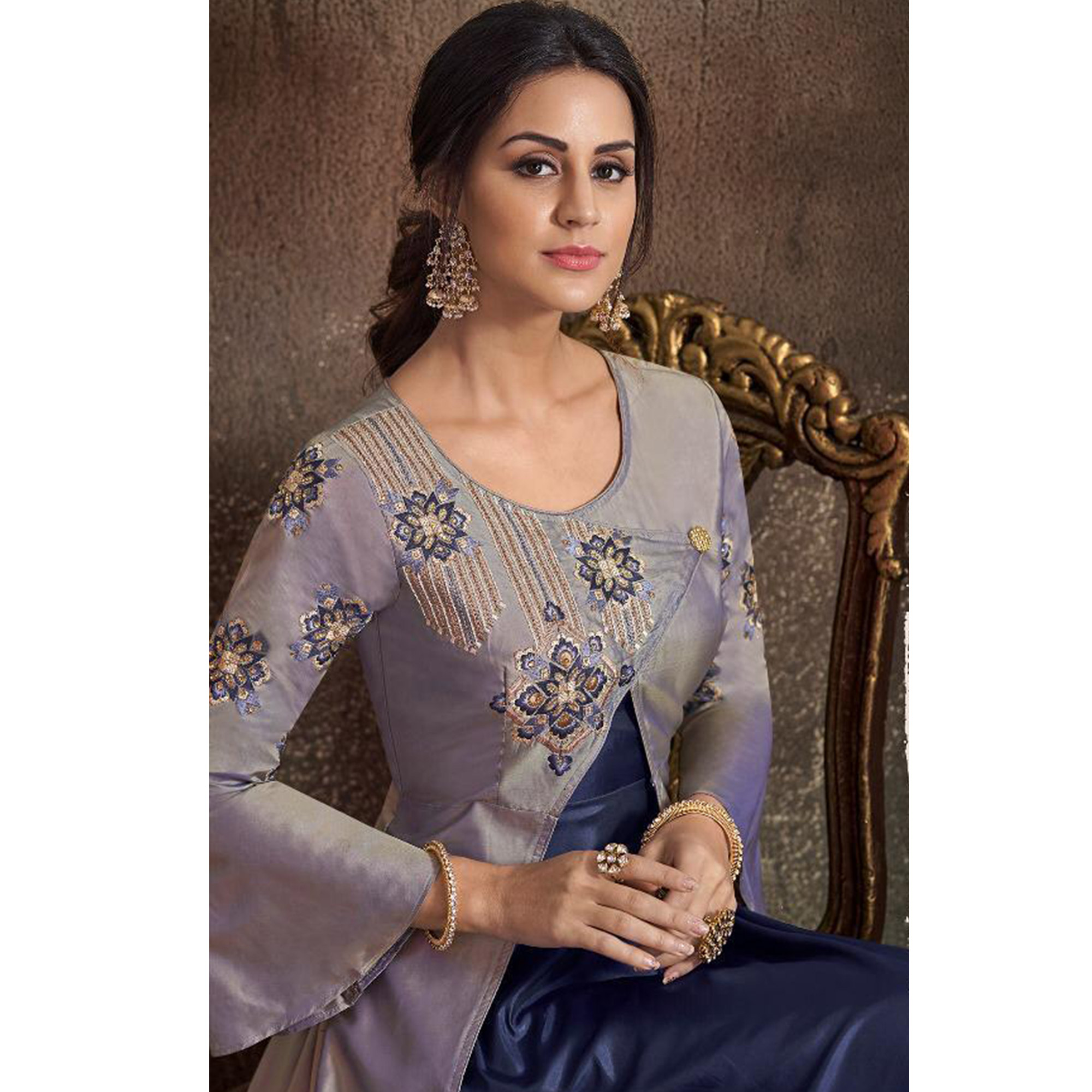 Innovative Gray-Navy Blue Colored Partywear Embroidered Tapeta Silk Gown