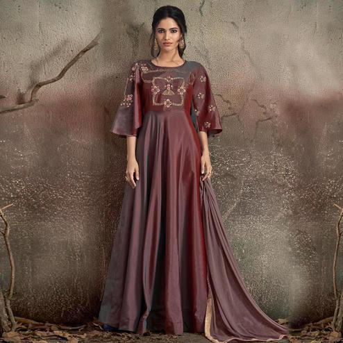 Fantastic Maroon Colored Partywear Embroidered Tapeta Silk Gown