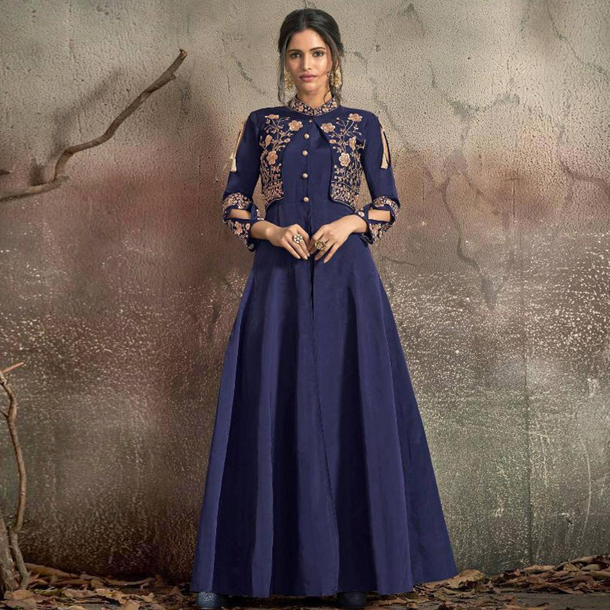 Amazing Navy Blue Colored Partywear Embroidered Tapeta Silk Gown