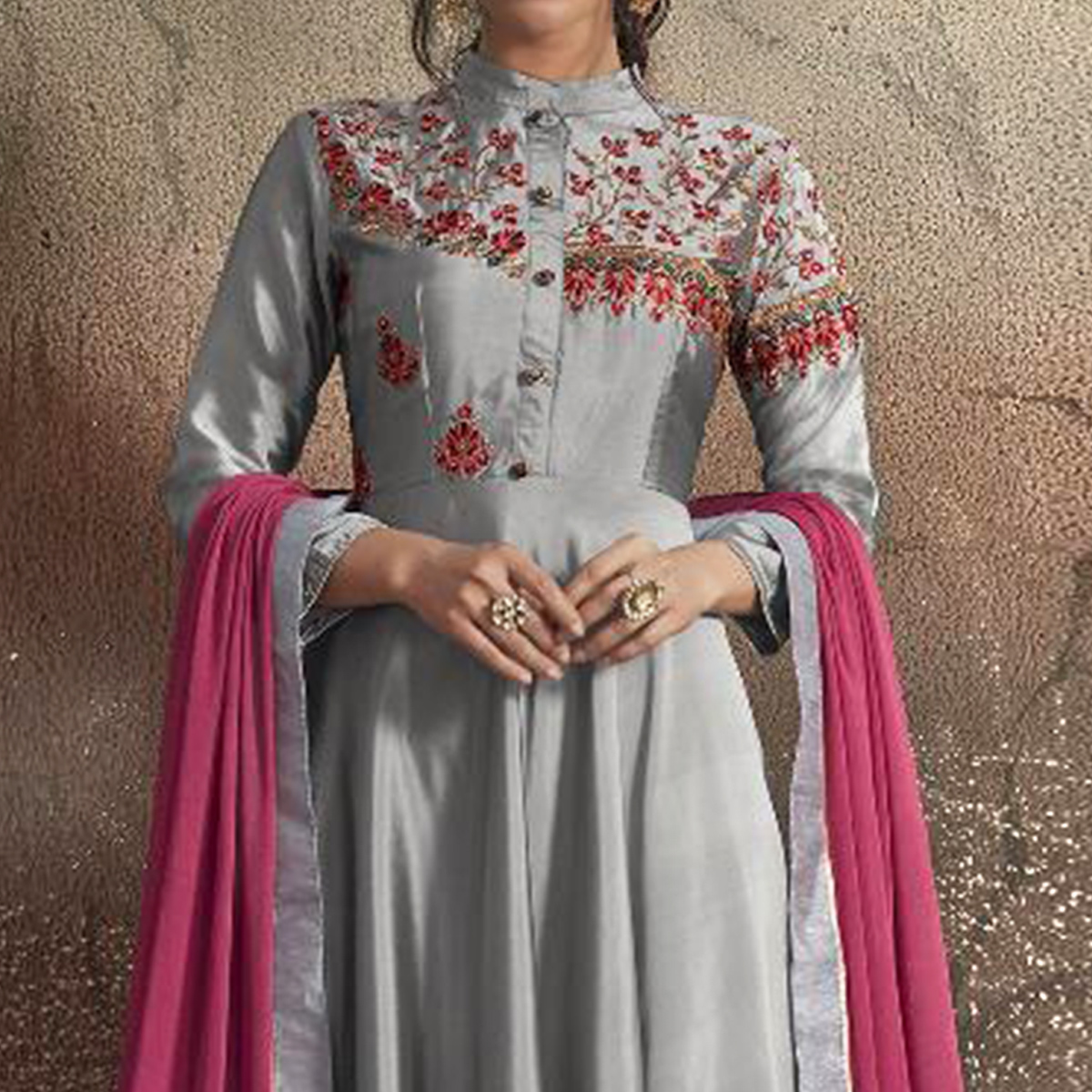 Gorgeous Light Gray Colored Partywear Embroidered Tapeta Silk Gown