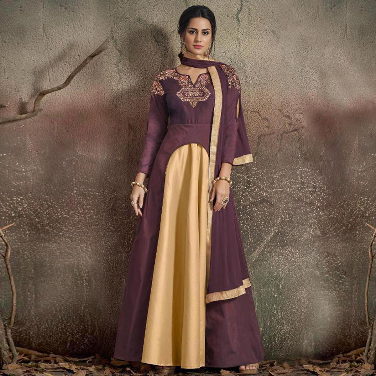 Blissful Dark Mauve-Beige Colored Partywear Embroidered Tapeta Silk Gown