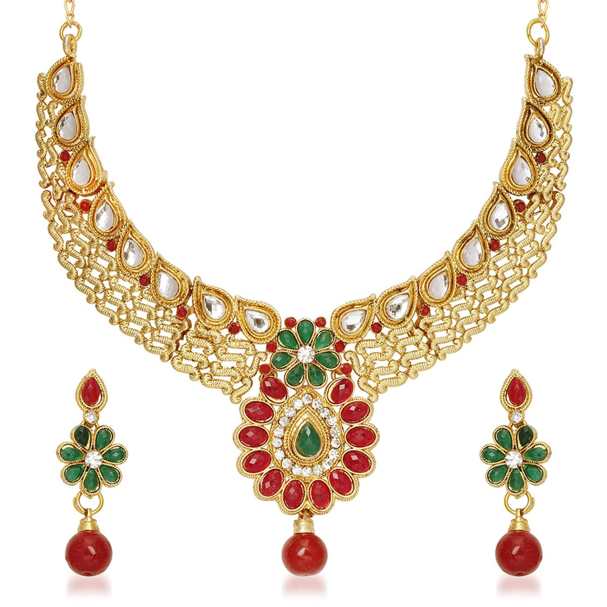 Kundan Red & Green Pota & Austrian Stone Drop Gold Finish Necklace Sets