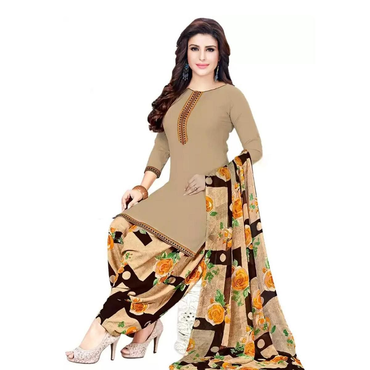 Impressive Beige-Yellow Colored Casual Printed Crepe Dress Material