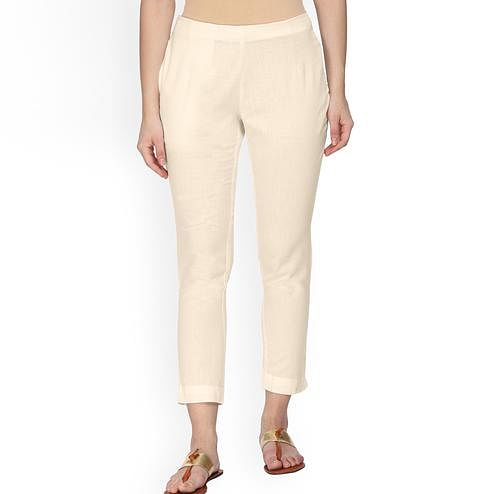 Lovely Cream Colored Casual Wear Cotton Pant