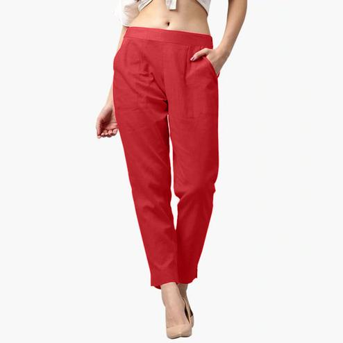 Impressive Red Colored Casual Wear Cotton Pant