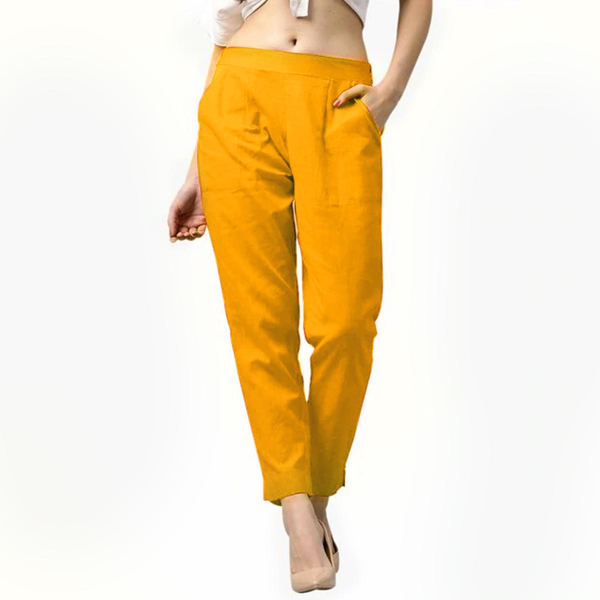Pleasance Mustard Yellow Colored Casual Wear Cotton Pant