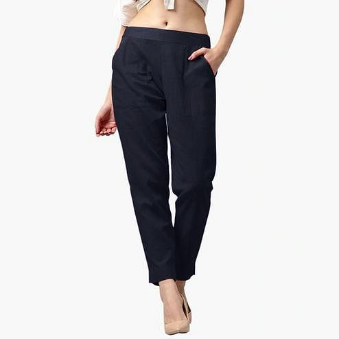 Breathtaking Navy Blue Colored Casual Wear Cotton Pant
