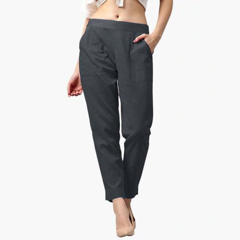 Flaunt Black Colored Casual Wear Cotton Pant