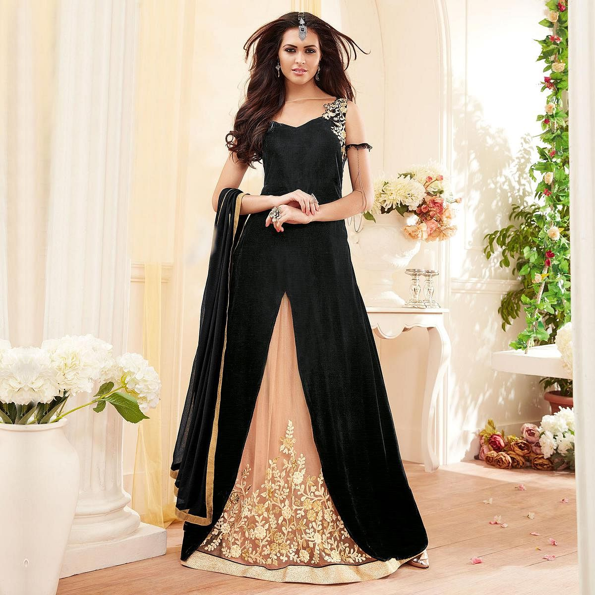 Black - Pastel Orange Party Wear Lehenga Suit