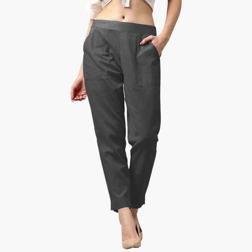 Ravishing Gray Colored Casual Wear Cotton Pant