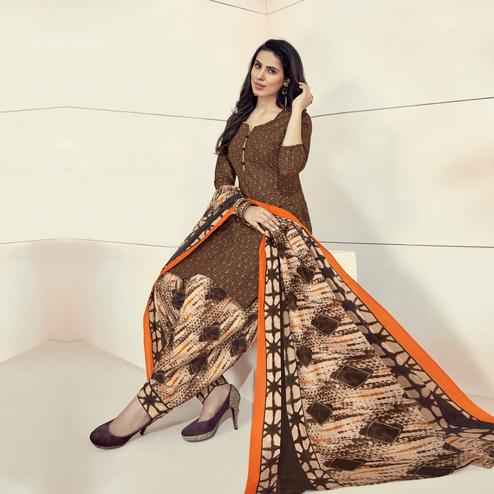 Adorning Light Brown Colored Casual Printed Crepe Dress Material