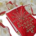 Adorning Red Colored Partywear Embroidered Cotton Dress Material