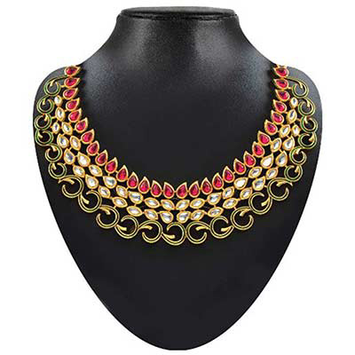 Pink & White Kundan Meenakari Gold Finish Necklace