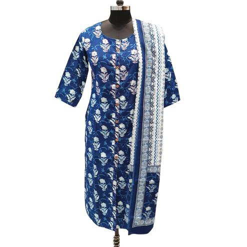 Refreshing Blue Colored Casual Printed Cotton Kurti With Dupatta