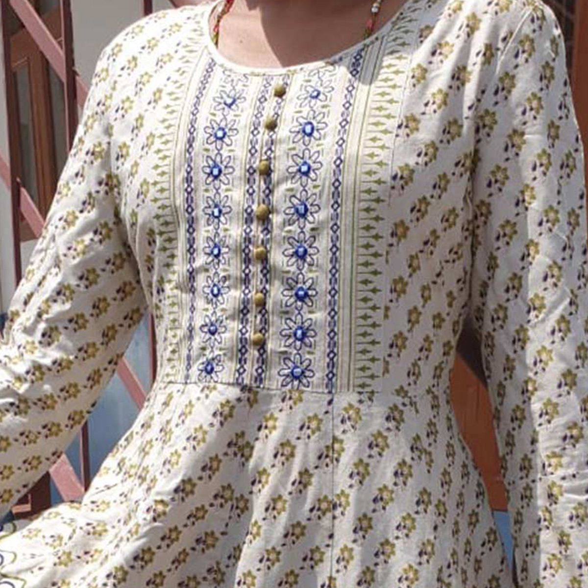 Hypnotic Beige Colored Casual Printed Cotton Long Kurti