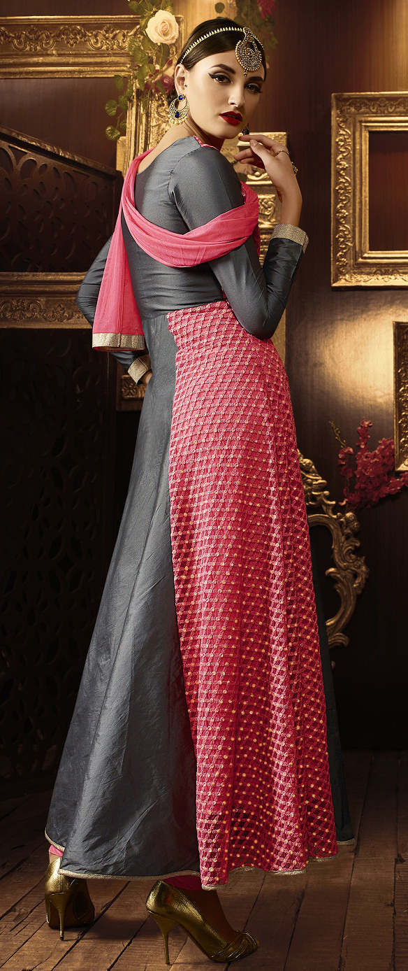 Grey - Peach Designer Anarkali Suit