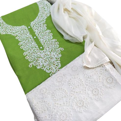 Staring Green Colored Partywear Embroidered Cotton Dress Material