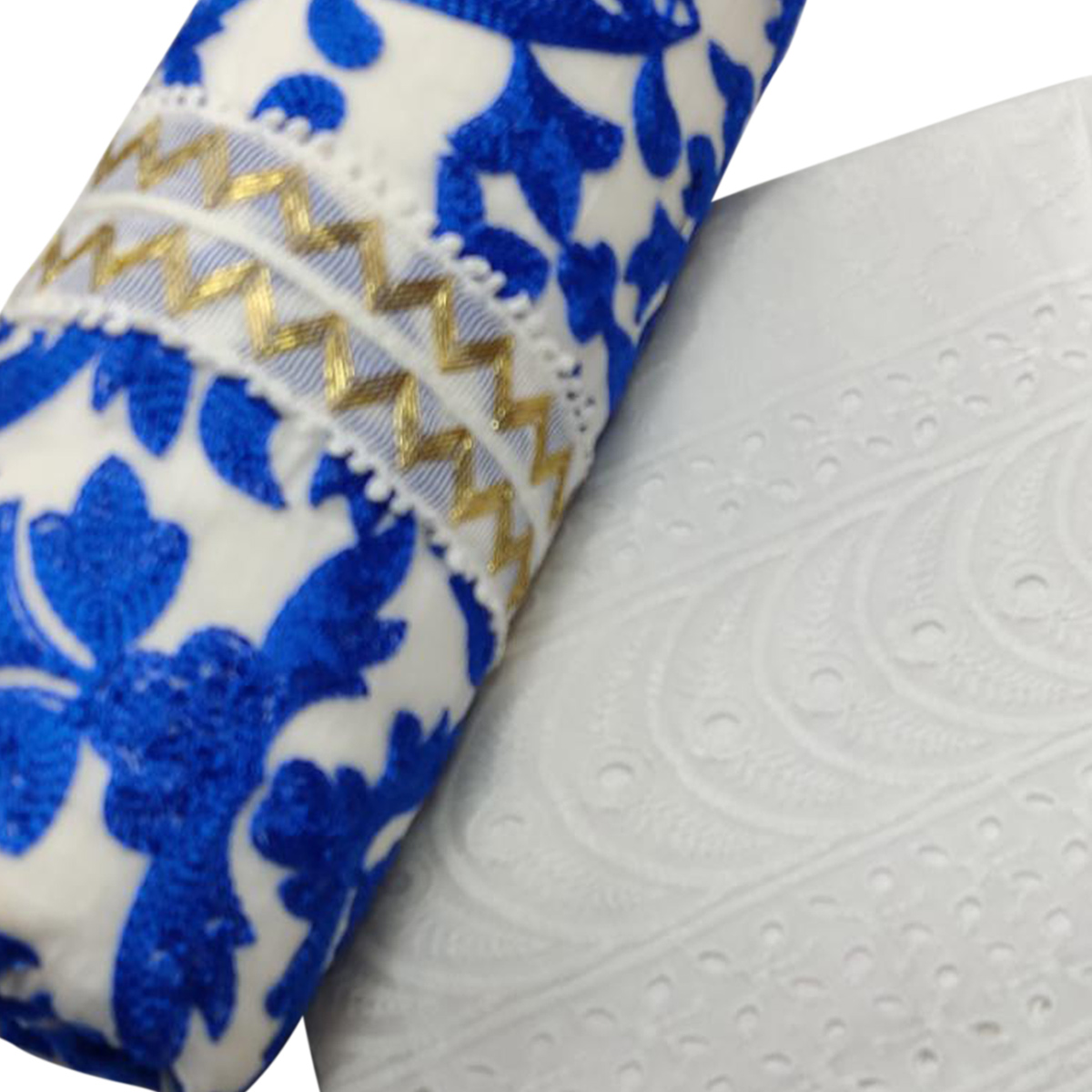 Graceful Blue-White Colored Partywear schiffli Embroidered Cotton Dress Material