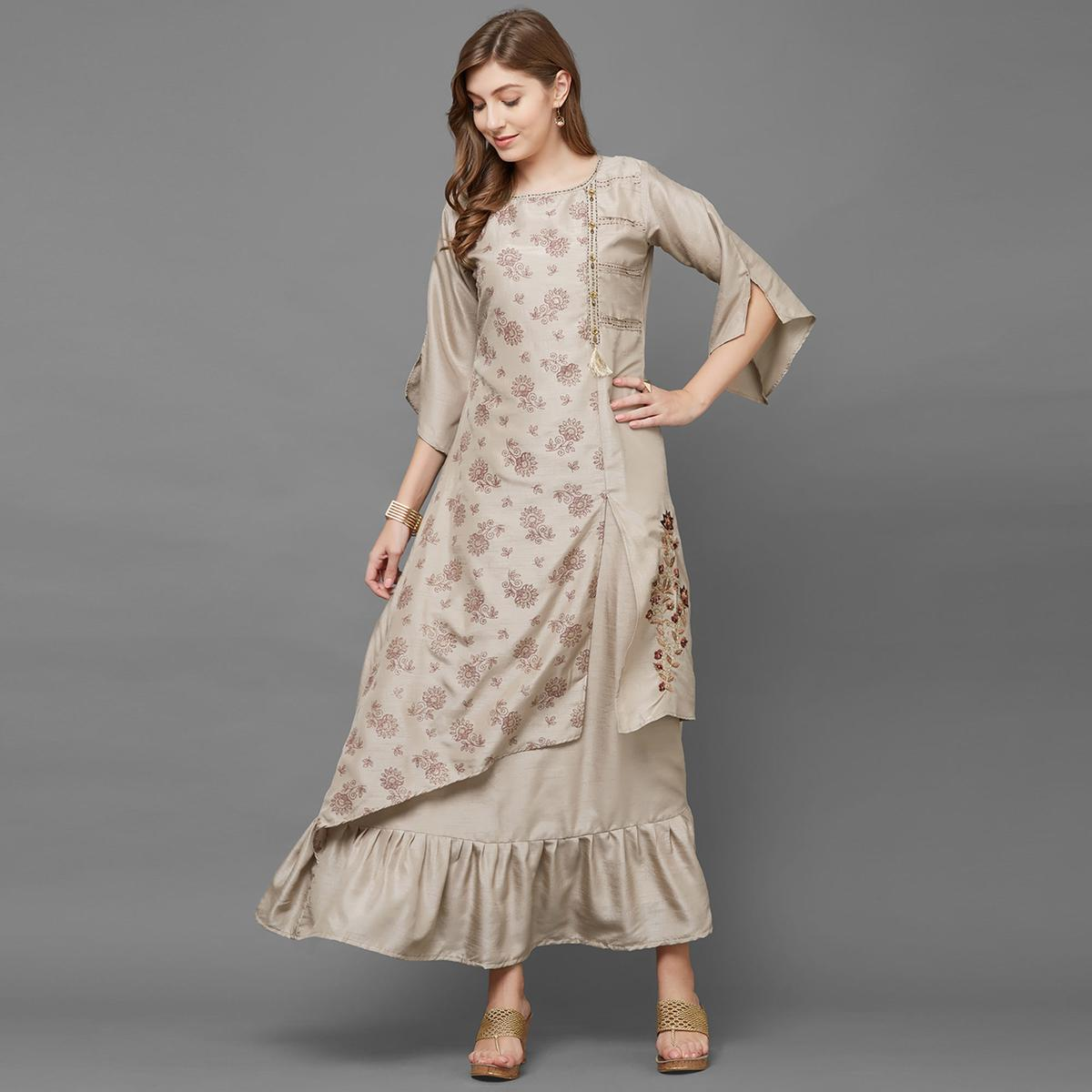 Arresting Brown Colored Partywear Embroidered Silk Long Kurti