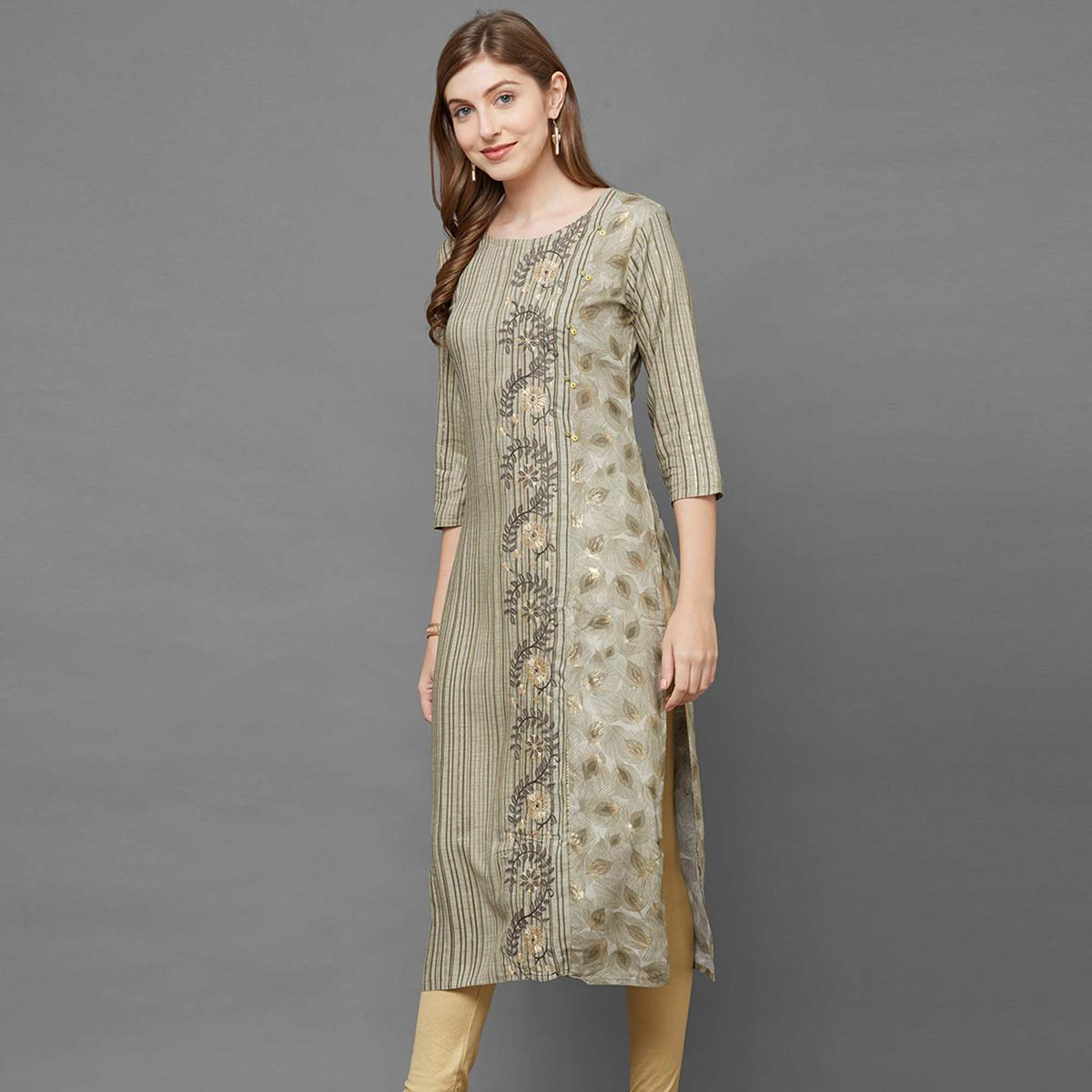Exotic Olive Green Colored Casual Printed Cotton Kurti