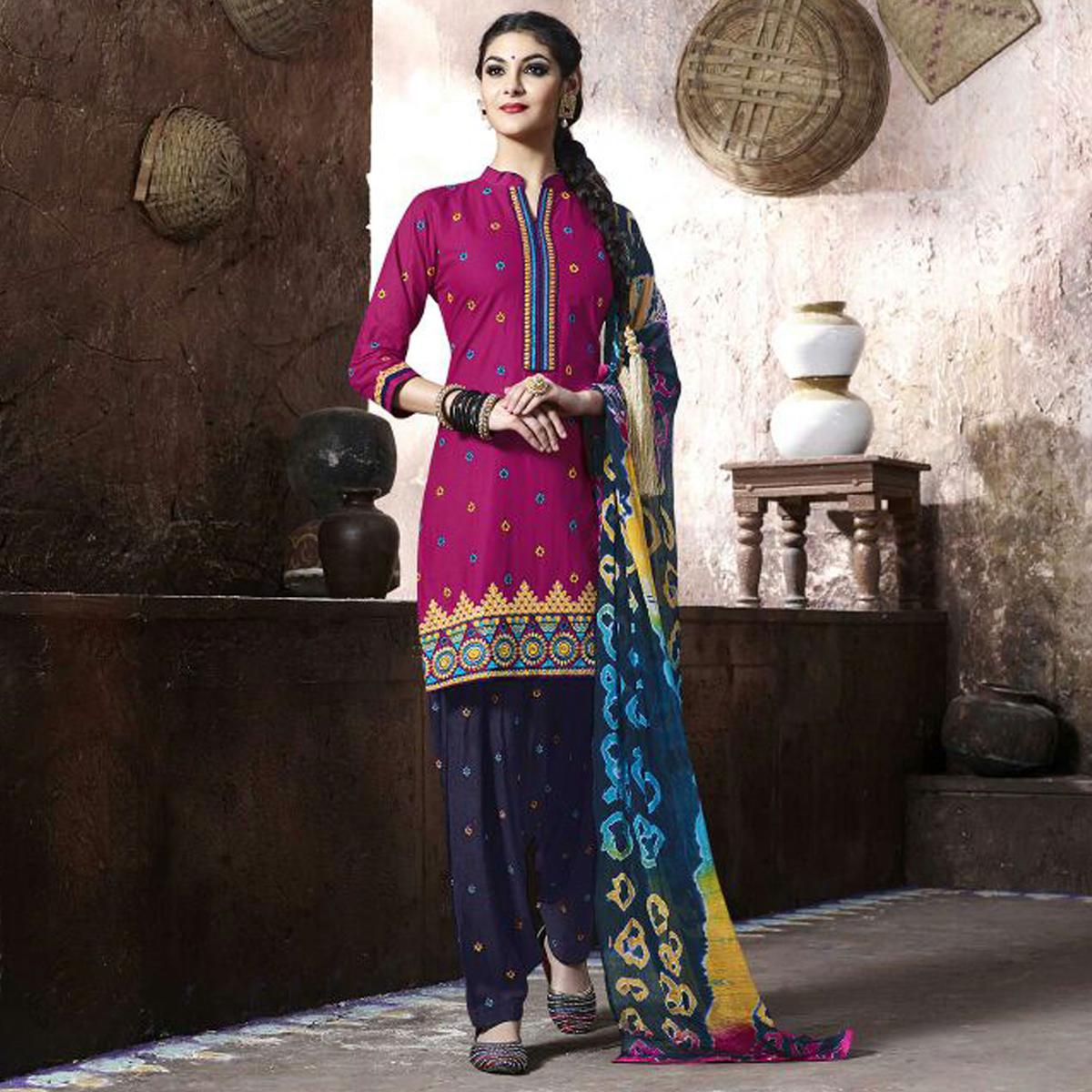 Pink Festive Wear Patiala Suit