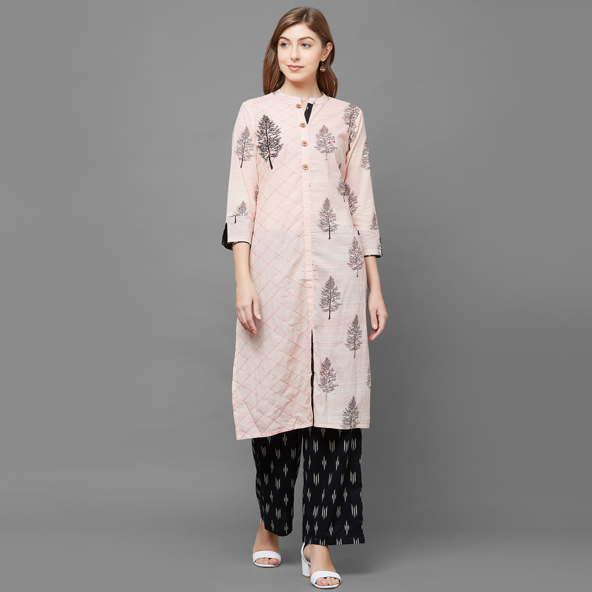 Radiant Peach Colored Partywear Printed Cotton Palazzo Suit