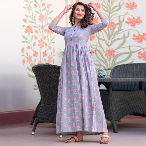 Demanding Lavender Colored Partywear Printed Muslin Blend Long Kurti