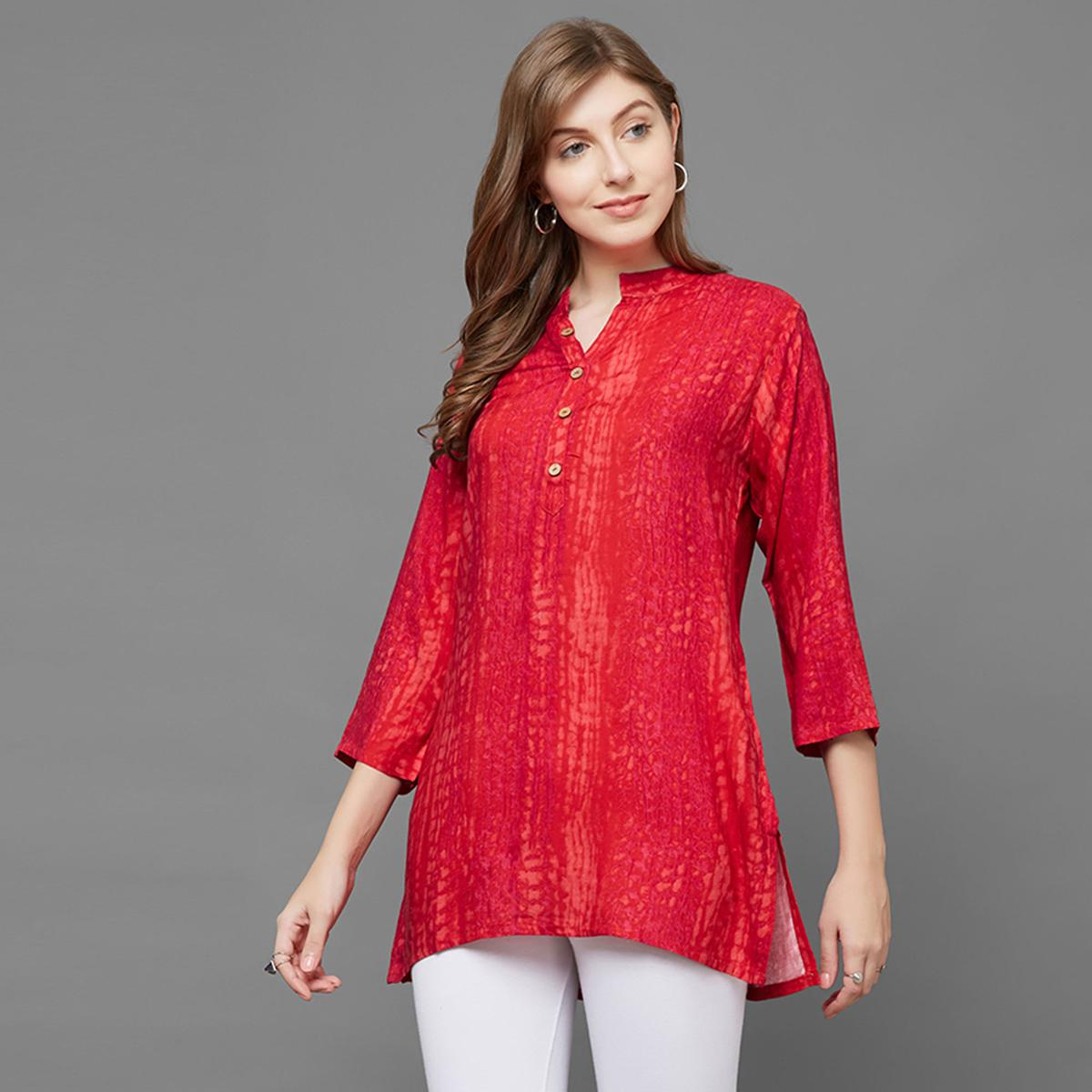 Beautiful Pink Colored Casual Printed Rayon Top