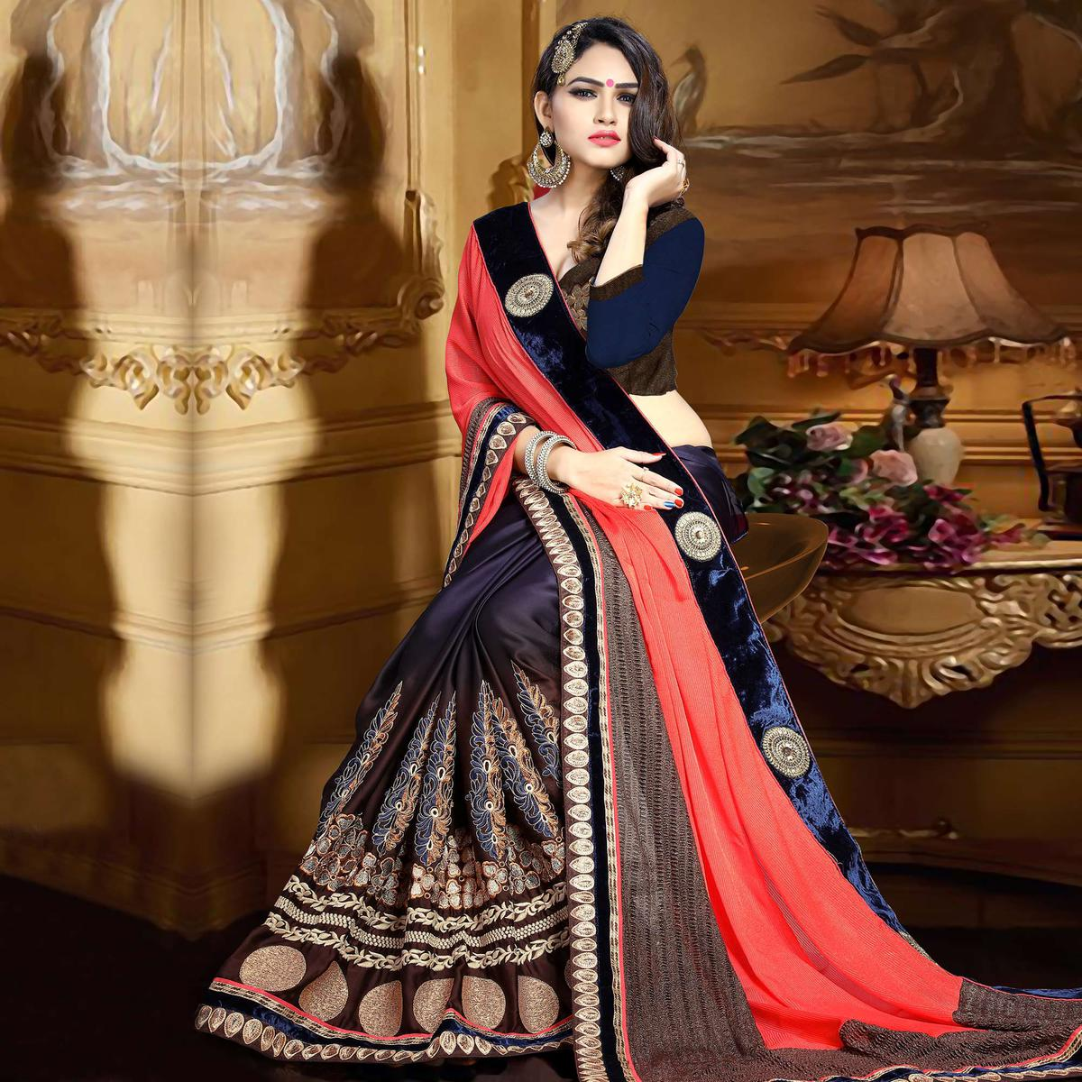 ... TCR Men Golden Pin-tucked Striped Bandhgala Jacket quality design a06d2  f6368  Ink Blue - Peach Georgette Satin Saree promo code 5b85a eb883 ... 1d9ae5ee3