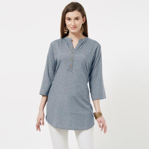 Attractive Grey Colored Casual Wear Cotton Short Kurti