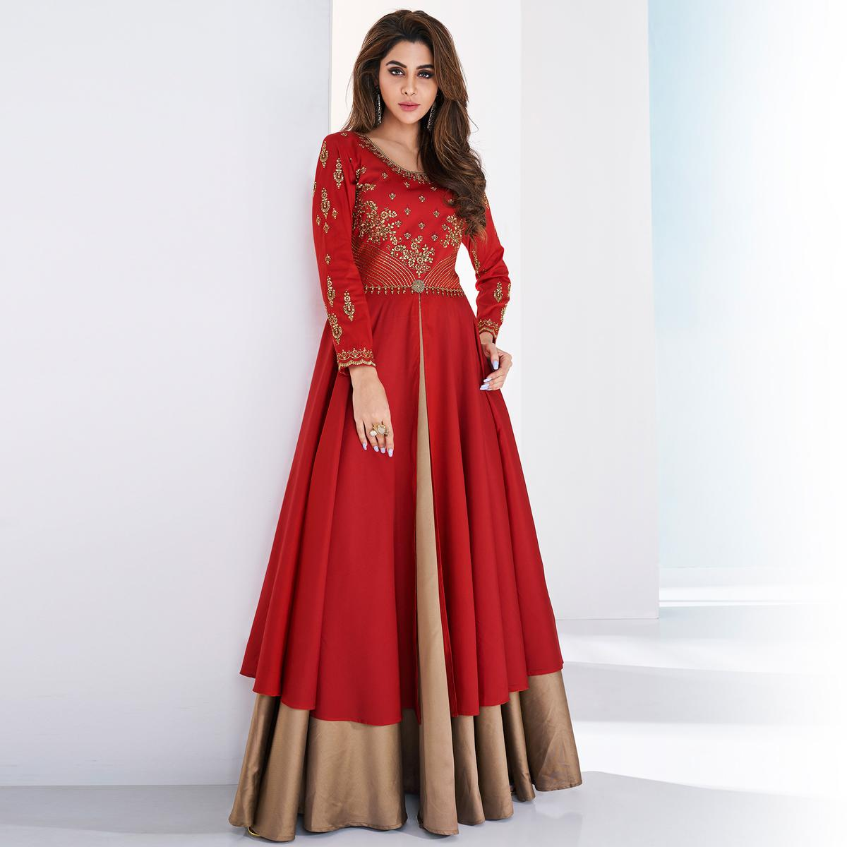 Opulent Red-Beige Colored Partywear Embroidered Silk-Tapetta Satin Gown