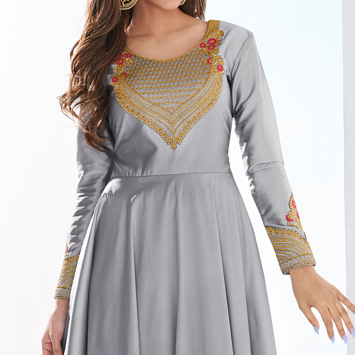 Energetic Gray Colored Partywear Embroidered Silk Gown