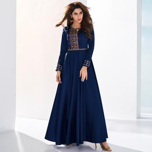 Glowing Navy Blue Colored Partywear Embroidered Silk Gown