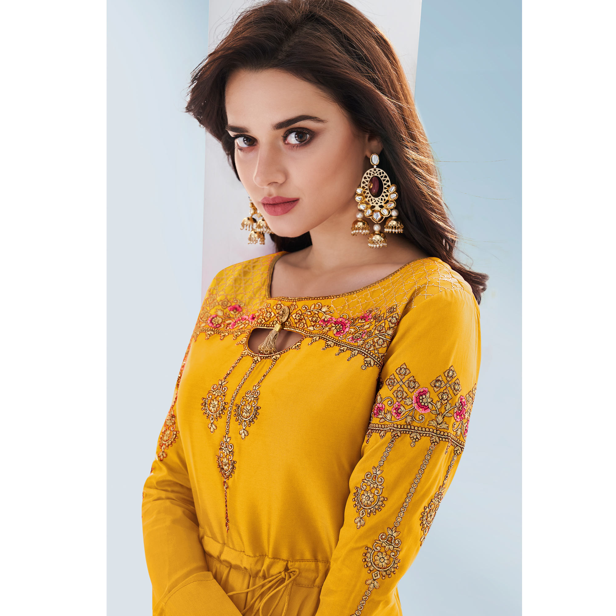 Exceptional Yellow Colored Partywear Embroidered Silk Gown