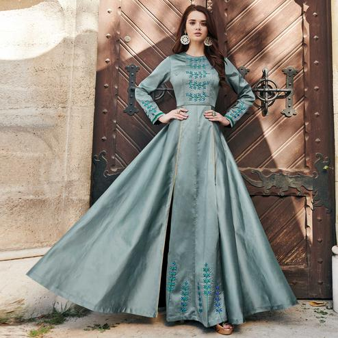 Gorgeous Teal Gray Colored Partywear Embroidered Silk Satin-Georgette Gown