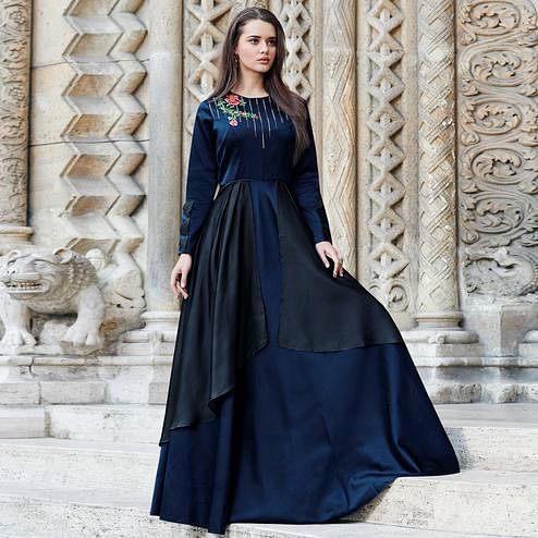 Blissful Navy Blue Colored Partywear Embroidered Silk Satin-Georgette Gown