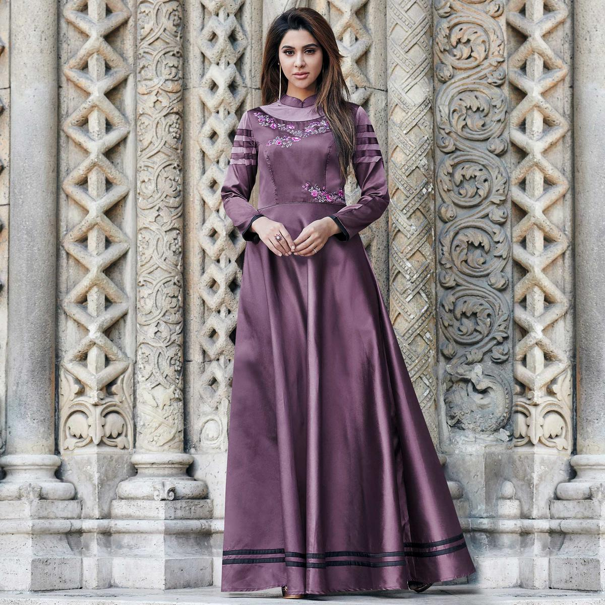 Ideal Purple Colored Partywear Embroidered Silk Satin-Net Gown