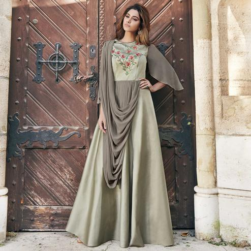 Imposing Gray Colored Partywear Embroidered Silk Satin Gown