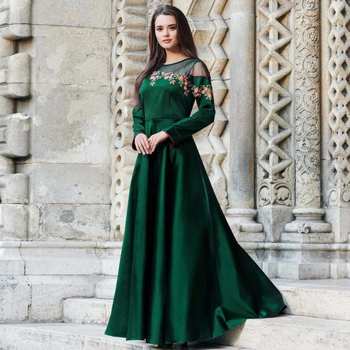 Lovely Dark Green Colored Partywear Embroidered Silk Satin-Net Gown