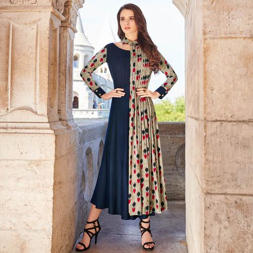 Refreshing Navy Blue-Gray Colored Partywear Printed Rayon Kurti