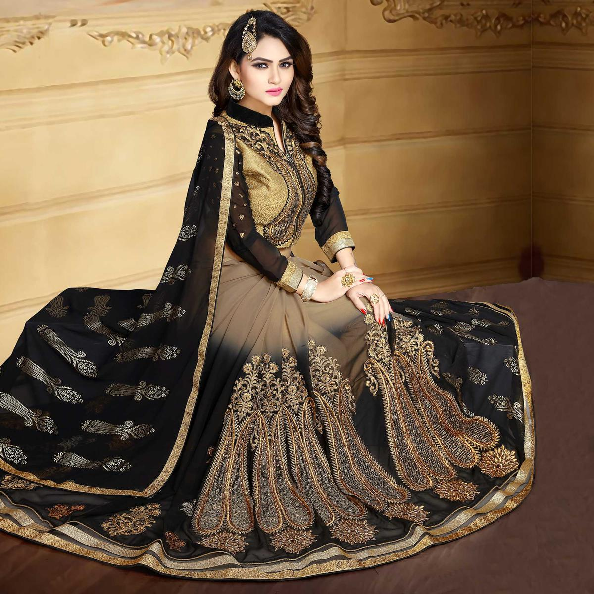 Beige - Black Georgette Saree