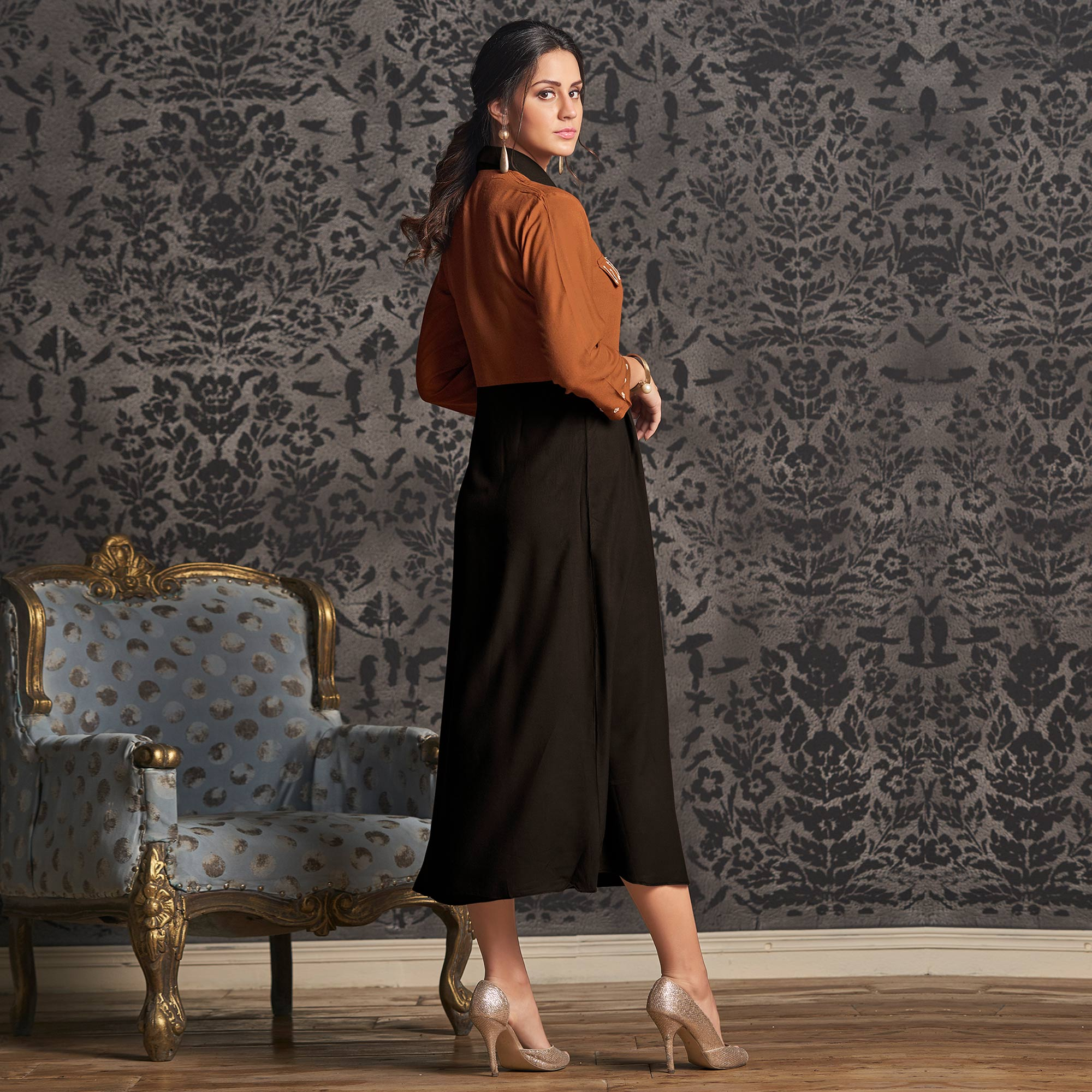 Captivating Brown-Black Colored Partywear Embroidered Rayon Long Kurti