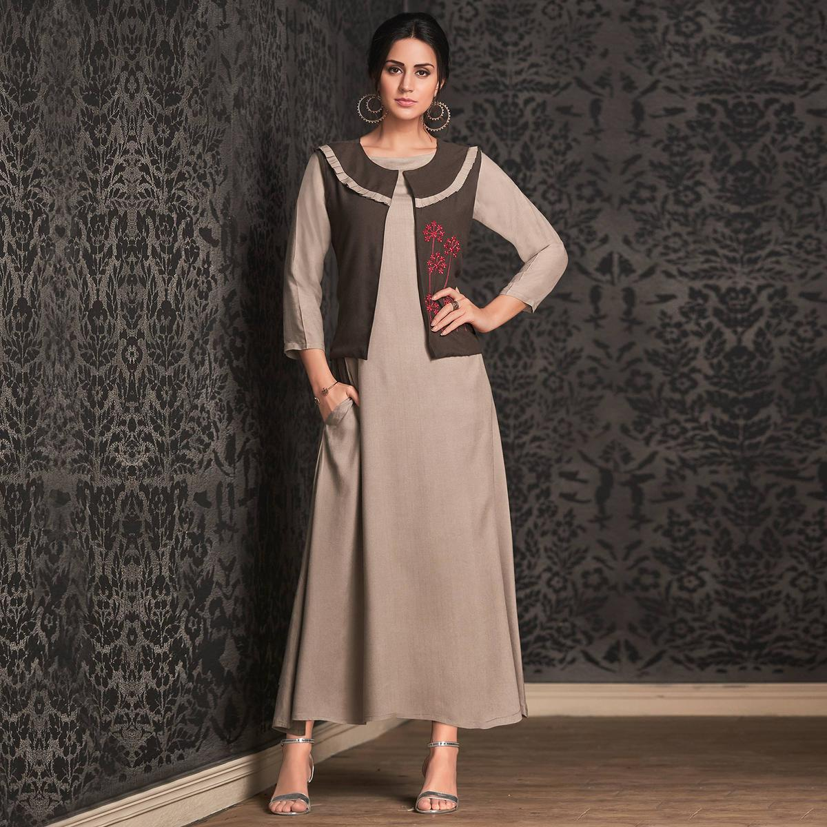 Eye-catching Light Gray Colored Partywear Embroidered Rayon Long Kurti With Koti