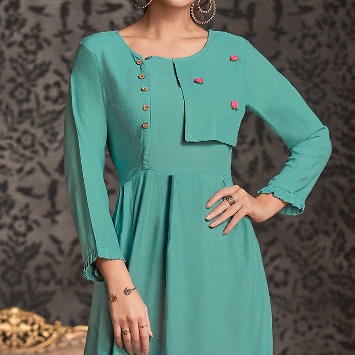 Fantastic Blue Colored Partywear Embroidered Rayon Long Kurti