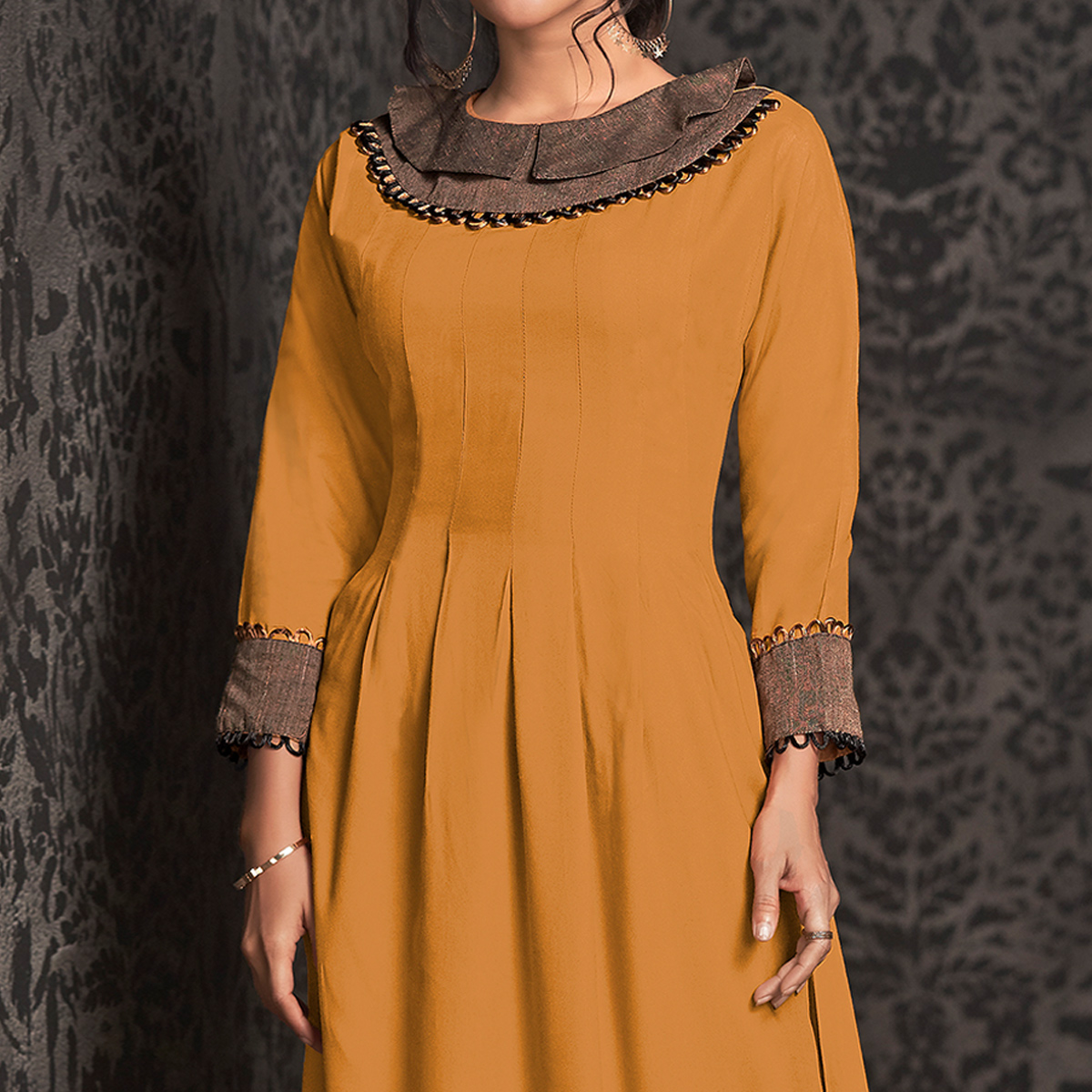 Amazing Yellow Colored Partywear Embroidered Rayon Long Kurti