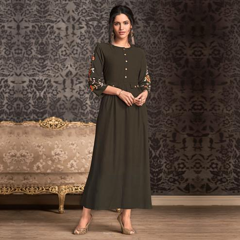 Gorgeous Gray Colored Partywear Embroidered Rayon Long Kurti