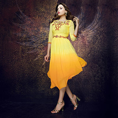 Shaded Yellow - Orange Partywear Tunic