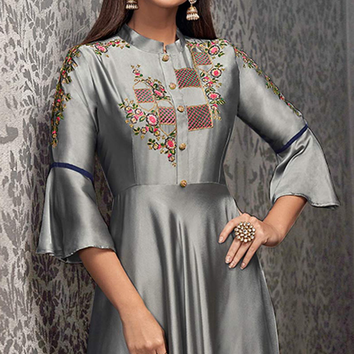 Flattering Gray Colored Partywear Embroidered Glowing Georgette Gown