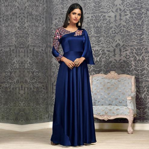 Excellent Royal Blue Colored Partywear Embroidered Glowing Georgette Gown